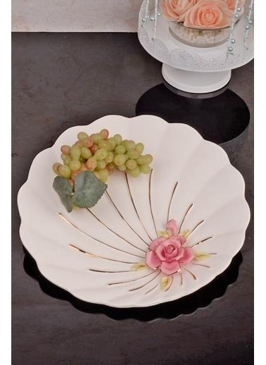 Kitchen World Kuğu Porselen Güllü Yuvarlak Meyvelik Beyaz